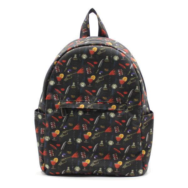 рюкзак городской маленький дамский принт спереди
