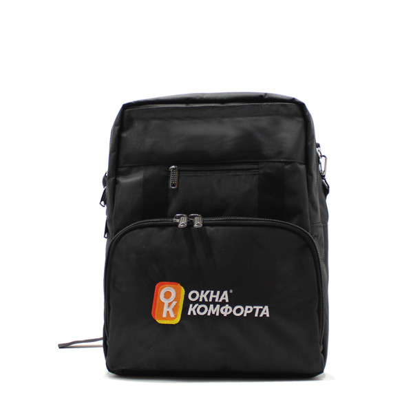 сумка рюкзак трансформер реклама ноутбук унисекс черный спереди