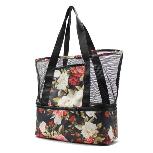сумка пляжная из сетки со вторым дном сбоку