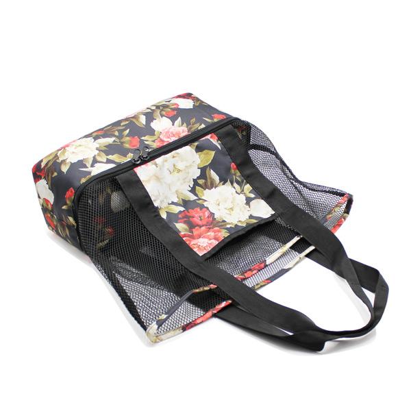сумка пляжная из сетки со вторым дном сверху