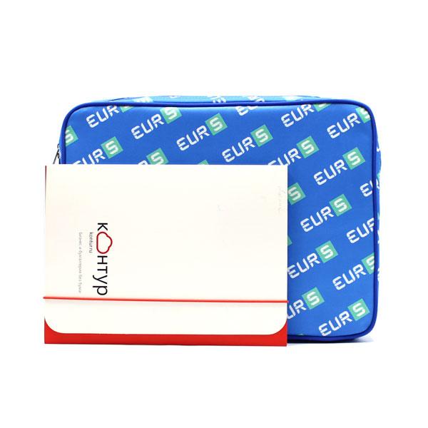 папка планшет большая с логотипом синяя с А4