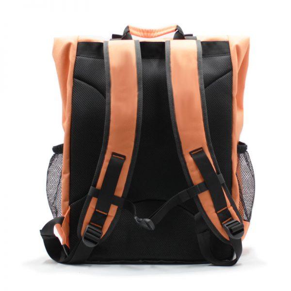 рюкзак-скрутка-большой максимальный для доставки и курьеров оранжевый сзади