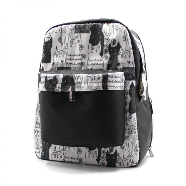 рюкзак с кошечками для ноутбука плотный R-32 отделение сбоку
