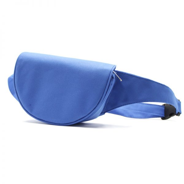 сумка поясная экокожа плотная кофр с клапаном синяя спереди