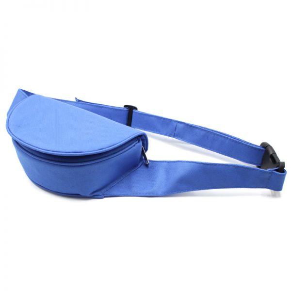 сумка поясная экокожа плотная кофр с клапаном синяя дно
