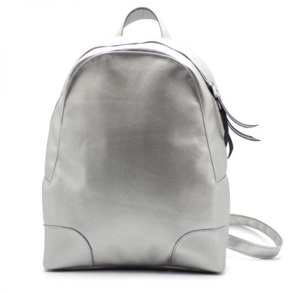 рюкзак женский маленький экокожа серебрянный спереди