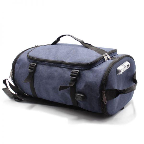 сумка рюкзак синий с лямками и ручками сверху